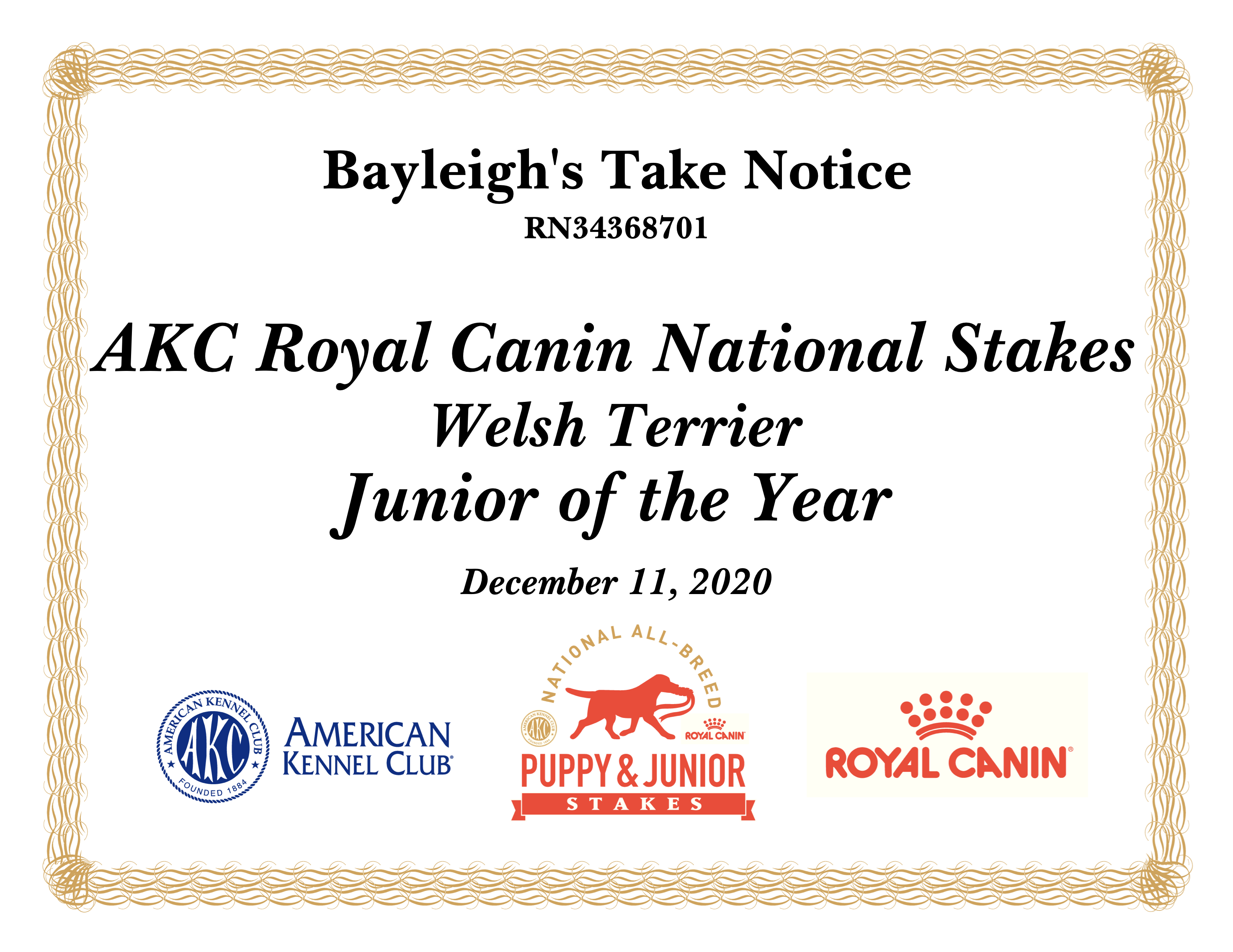 Wallis' ALC Royal Canin National Stakes Junior of the Year